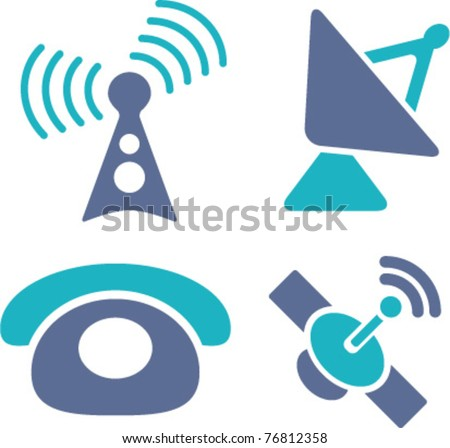 phone & antenna, satellite icons, signs, vector illustrations