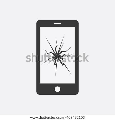 phone broken vector icon phone