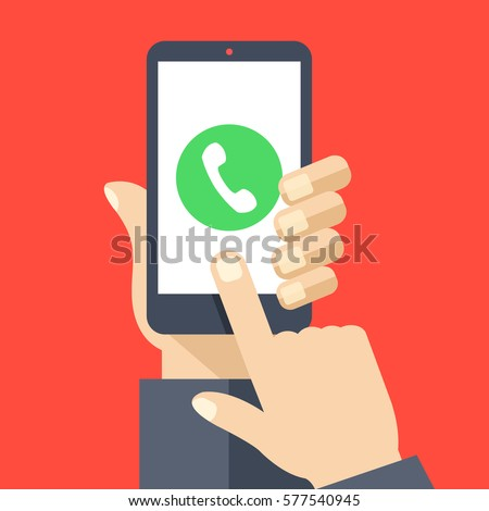 Phone call button on smartphone screen. Hand holding smartphone, finger touching screen. Answer the call. Modern concept for web banners, web sites, infographics. Flat design vector illustration.
