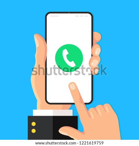 Phone call. Call button on smartphone screen. Hand holding mobile phone, finger touching screen. Modern flat design. Vector illustration