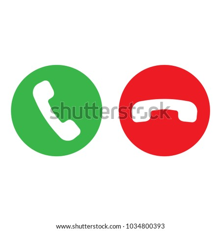 Phone call icon set with green call out button and red hang up button. Modern flat design for website, mobile app. Сток-фото ©