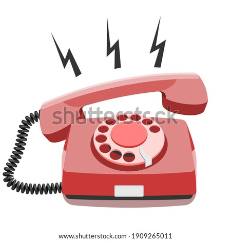 Phone call, old rotary telephone, vintage wired phone handset, retro phone. Vector illustration on white background with copy space Stockfoto ©