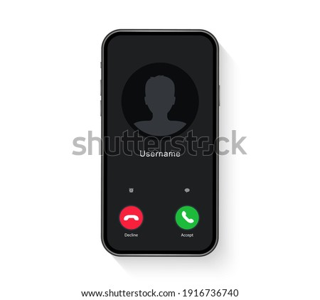Phone call screen interface. Incoming call template on smartphone. Mobile phone display. Vector illustration.