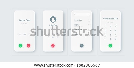 Phone call UI. Incoming touchscreen interface mockup with dial. Communication smartphone application display design with phone book and numbers or buttons. Modern mobile screens templates, vector set Stock photo ©