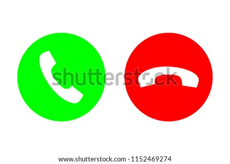 Phone call vector flat icon set with green call out or answer button and red hang up or decline button. Design for website, mobile app.