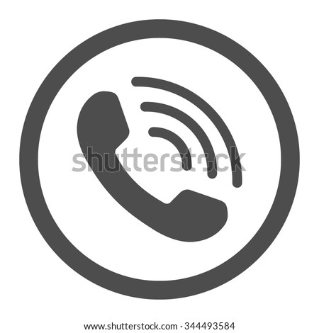 Phone Call vector icon. Style is flat rounded symbol, gray color, rounded angles, white background.