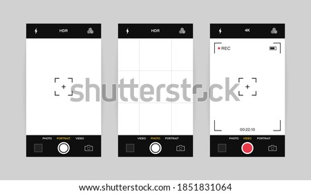 Phone camera interface vertical view. Mobile app application. Photo and video shooting. Vector illustration graphic design.