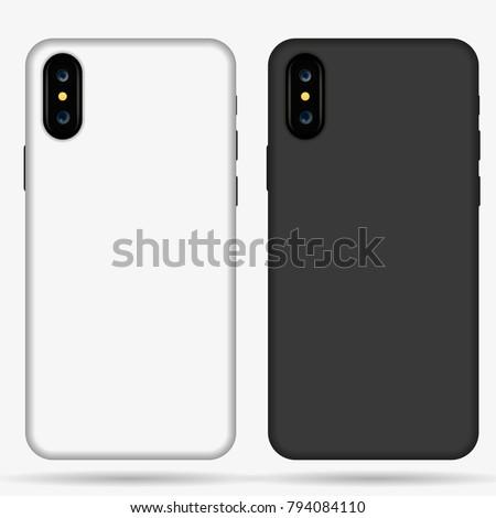 phone  case mockup template illustration (whiteblack). ストックフォト ©