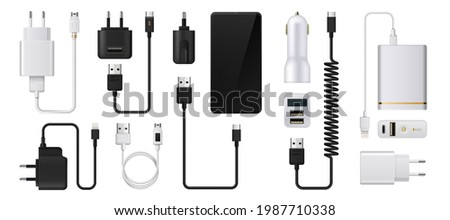 Phone charger. Realistic smartphone power supply. 3D USB cables and electric plugs. Auto adaptors for charging devices. Power cords. Vector digital equipment for accumulator refuels
