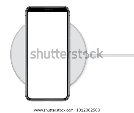 phone charging on wireless charger vector drawing on white background