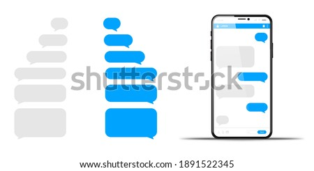 Phone chatting message template bubbles. Place your own text to the message clouds vector illustration
