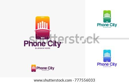 Phone City Center logo designs concept, Modern Mobile City Logo template