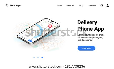 Phone city map landing page. Mobile delivery application interface. Online tracking courier route on urban plan. Website UI realistic design, smartphone GPS service with buttons. Vector web mockup