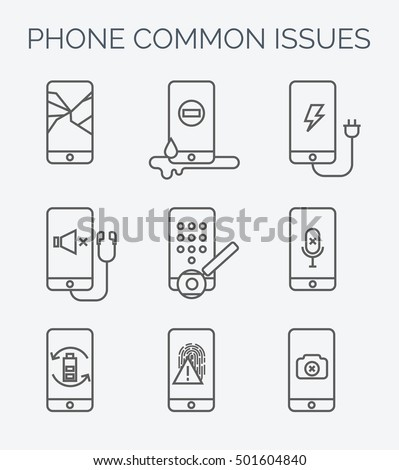 phone common issues line icons