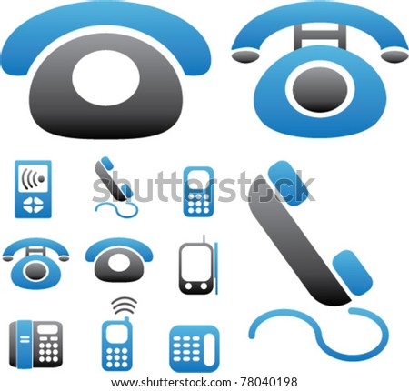 phone & connection icons, signs, vector illustrations
