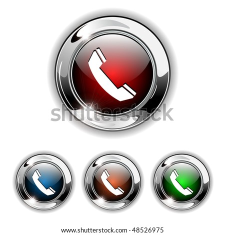Phone, contact us icon, button. Realistic vector illustration.