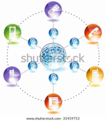 Phone Diagram Icon Set : Group of phone communication themed images.