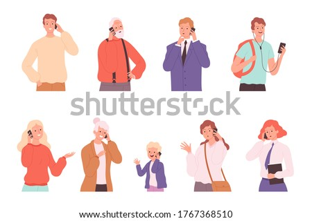 Phone dialogue. Talking people male and female conversation calling characters speaking persons vector illustrations