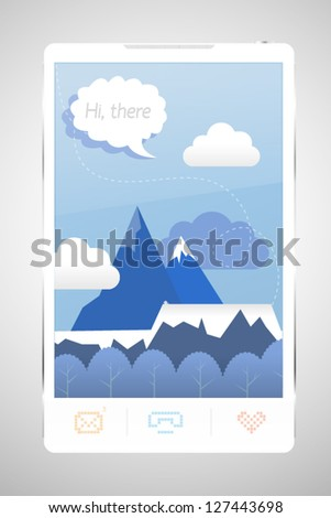 Phone game or welcome screen with �«Hi there�» sign on it