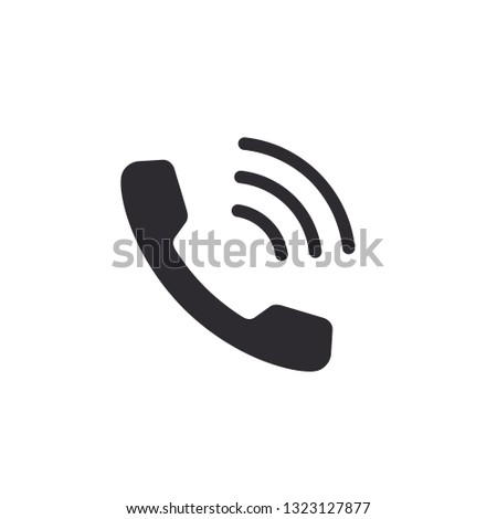 Phone Icon. Handset with waves. Telephone signal. Comunication symbol. Call Icon. Telephone sign. Call center. Online support sign. Color easy to edit. Transparent background.