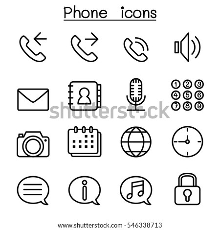 Phone icon set in thin line style