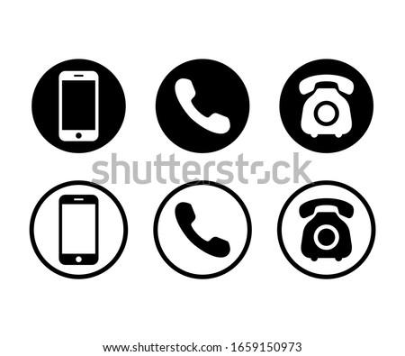 Phone icon vector. Set Telephone and Smartphone symbol illustration