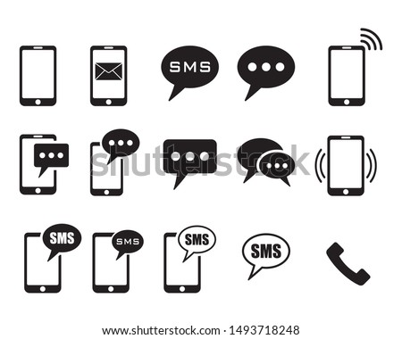 Phone icons on white background, sms icon, cell phone, call phone, message, Vector illustration.