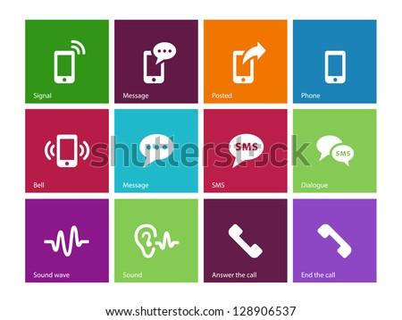 Phone icons on white background. Vector illustration.