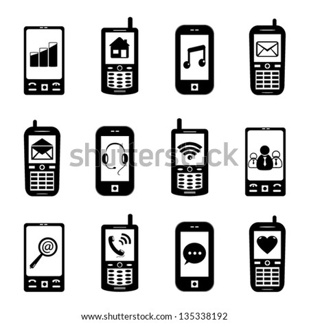 phone icons with internet signs on screen