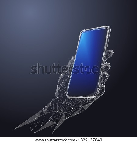 Phone in a hand. Abstract Low-poly wireframe vector technology illustration. Device blue screen and arm palm. Digital concept of gadgets and devices themes.
