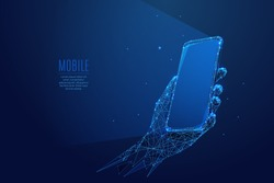 Phone in a hand. Abstract Low-poly wireframe vector technology illustration. Starry sky and cosmos style in blue color. Device screen and arm palm. Digital concept of gadgets and devices themes.