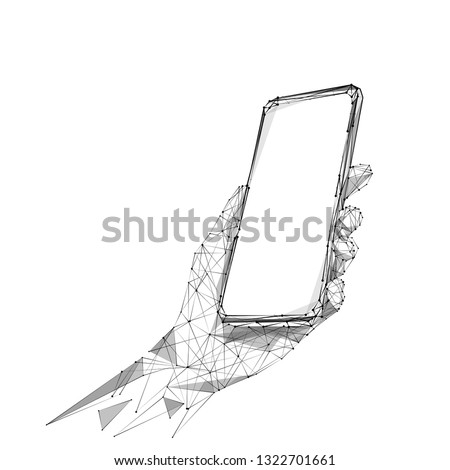 Phone in a hand. Abstract Low-poly wireframe vector technology illustration. Starry sky and cosmos style in blue color. Device screen and arm palm. Digital concept of gadgets and devices themes