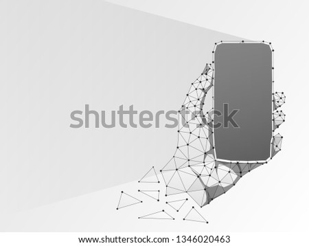 Phone in a hand. Abstract origami 3d illustration. Polygonal Vector technology concept of device, gadget, smartphone. Low poly wireframe, geometry triangle, lines, dots, polygons on white background