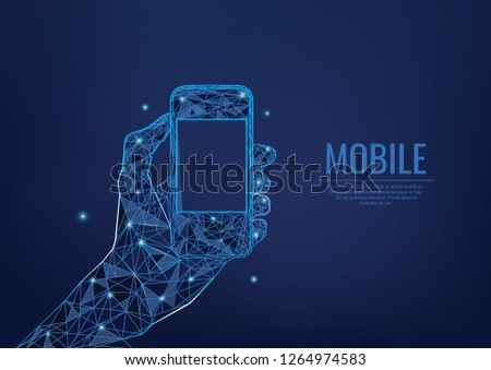 Phone In a Hand Low Poly Blue