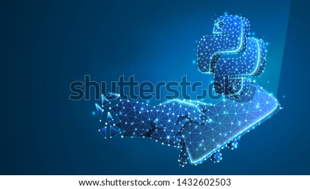 Phone in a hand with Python language symbol on mobile screen. coding software concept. Abstract, digital, wireframe, low poly mesh, polygonal Vector blue neon 3d illustration. Triangle, line, dot