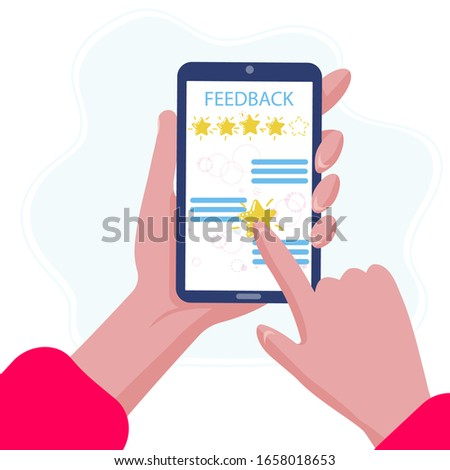 Phone is on the hand and write good quality review on the screen. Positive feedback in application. Five stars  client rate. Customer rate for success work