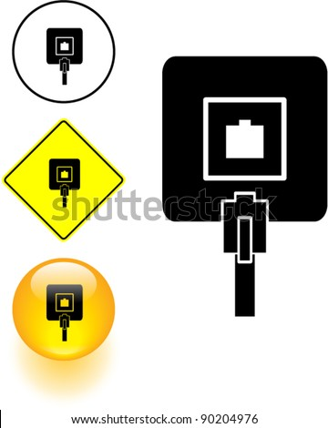 phone jack symbol sign and button - stock vector