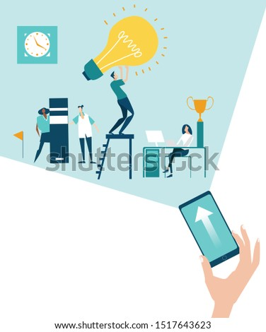 Phone, little device lightning up the problems and the way it to solve. Modern technology. Developing, taking a risk, support and solving the problem business concept illustration.