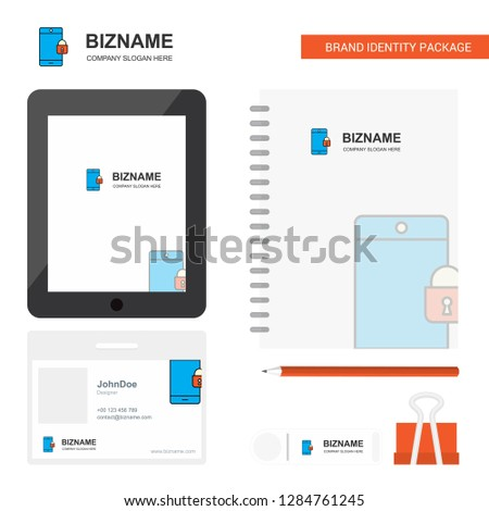 Phone locked Business Logo, Tab App, Diary PVC Employee Card and USB Brand Stationary Package Design Vector Template #1284761245