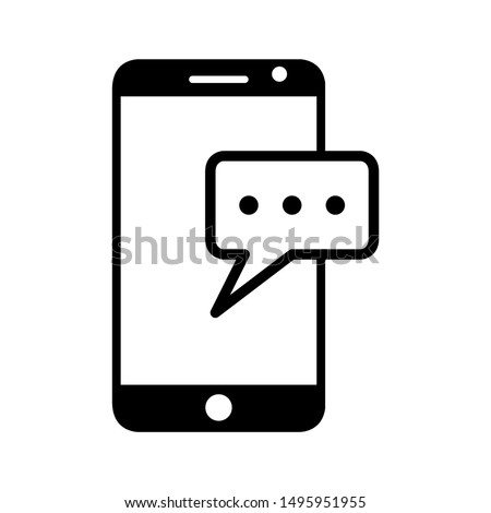 Phone message icon design. Phone message icon in modern flat style design. Vector illustration.