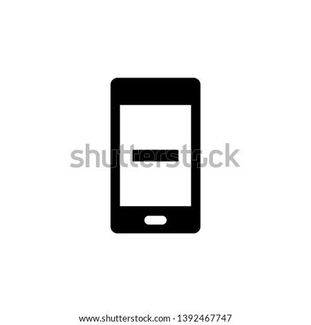 Phone, minimize, minus vector icon. Simple element illustration from UI concept.  Mobile concept vector illustration. Phone, minimize, minus vector icon