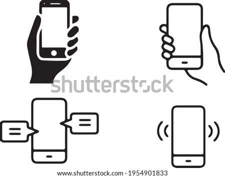 phone, mobile devices in vector graphics. phone held or pressed by the hand. dialing a number. vector graphics for mobile range websites, phone applications Stockfoto ©