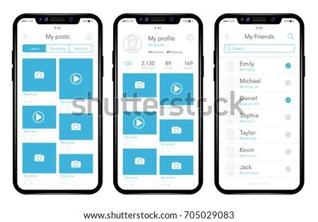 Phone, mobile, smartphone, mockup. Realistic vector illustration phone. Profile screen. Photo application. UI Components.