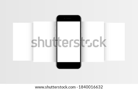 Phone mockup with blank app screens. Mobile app design concept for showcasing screenshots. Vector illustration