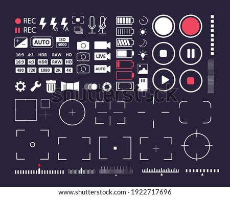 Phone multimedia user interface element mark and icon set. Movie record, camera capture and snapshot video or photograph sharing and setting basic iconic element vector illustration isolated on white