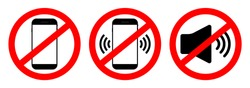 Phone off icon. Sign of mobile ban. Forbidden use cellphone, sound. Stop call symbol in smartphone. Zone of mute telephone. Switch on quiet. Strikethrough device in cinema and danger area. Vector.