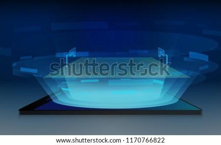 Phone on Basketball arena field with bright stadium lights design. Vector illumination