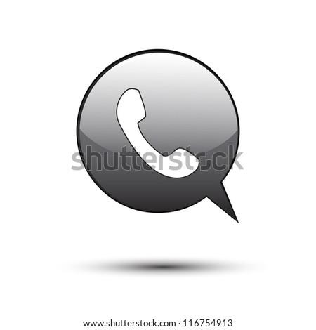 phone on black word bubble