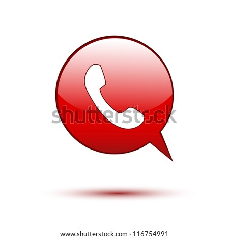 Phone on red word bubble speech
