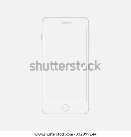Phone outline template. Clean mockup linear mobile phone. Sketch a phone on a white background.template phone.